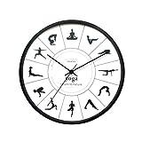 FOLA Reloj de la Pared de Yoga Reloj de decoración 12 en Reloj de Cuarzo Puntero de Metal silencioso sin tictación de decoración Reloj de Pared fáciles de Leer (Color : Black-1, tamaño : Small)