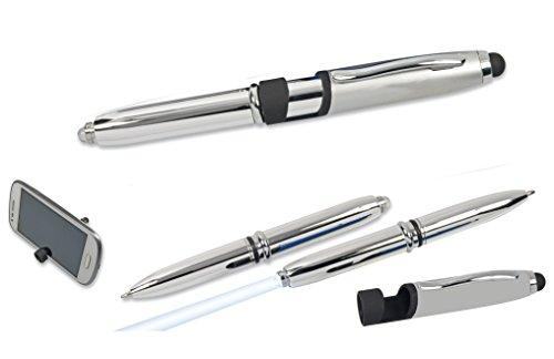 5x LED Touchpen Kugelschreiber / mit Licht und Smartphone Halterung / silber