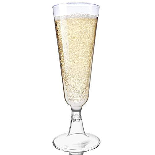 MATANA 48 Pack elegante plastic champagnefluiten, helder als glas 150 ml - stevig, wegwerp of herbruikbaar - perfect voor feesten, bruiloften, verjaardagen, Kerstmis, nieuwjaarsfeesten.