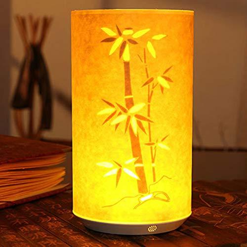 EgBert 1 Stück LED-Leuchte im Retro-Stil, kreativ, Pergamin, geschnitzt, Infrarot, Fernbedienung, batteriebetrieben, für Kaffee/Geburtstag/Weihnachten/Hochzeit/Party Bambus