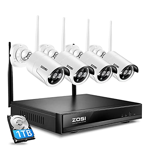 ZOSI Kit de Videovigilancia Inalámbrico 960P 4 Canales Grabador NVR con 4 Cámara de Vigilancia Seguridad WiFi Exterior, Alarma de Movimiento, 30M Visión Nocturna, 1TB Disco Duro