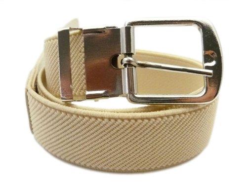Cinturón Elástico para los Niños 1-6 años, Plateado Hebilla Diseño - Crema
