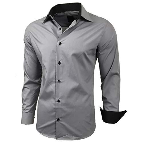 Baxboy Herren-Hemd Slim-Fit Bügelleicht Für Anzug, Business, Hochzeit, Freizeit - Langarm Hemden für Männer Langarmhemd R-44, Größe:M, Farbe:Grau