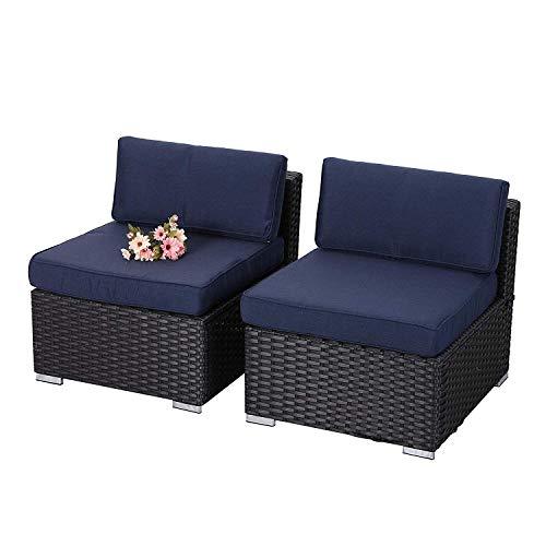 PHI VILLA 2-Piece Patio Furniture Set Rattan Sectional Sofa with Seat Cushions, Blue