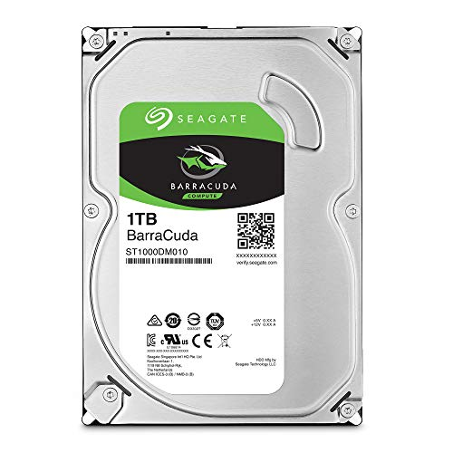Seagate Barracuda, interne Festplatte 1 TB HDD, 3.5 Zoll, 7200 U/Min, 64 MB Cache, SATA 6 Gb/s, silber, Modellnr.: ST1000DM010