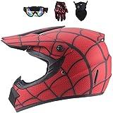 WEITY Fronte pieno MTB del casco, rosso/Ragnatela I bambini e gli adulti di motocross Casco set con gli occhiali di protezione maschera guanti, per Downhill MX AVT Dirt Moto Bike (S)