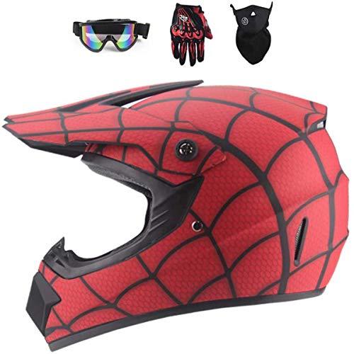 Full Face MTB Helmet,Red/Spider Web Children and adults Motocross Helmet Set with Goggles Mask Gloves, for Downhill MX AVT Dirt moto Bike (S)