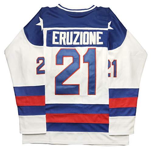 Micjersey Mike Eruzione Jersey, Eruzione #21 1980 Miracle USA Ice Hockey Jerseys (White, XXXL)