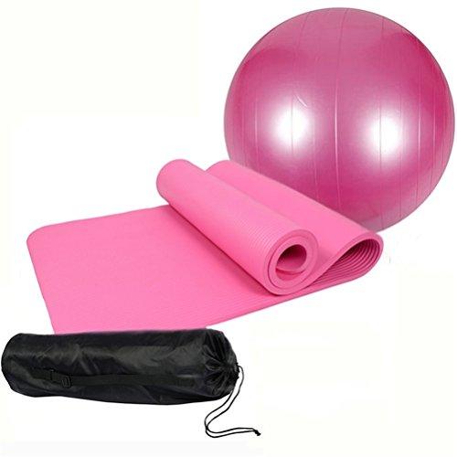 Extra spessore antiscivolo Yoga Mat (10mm) + 1Yoga, Fitness Ball (65/75cm) + 1Pompa Aria, rosa