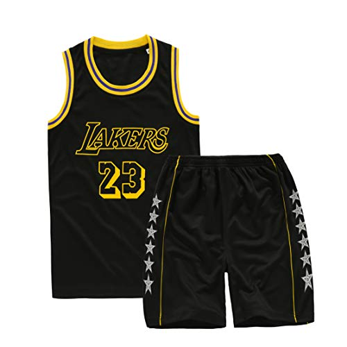 ADMJL Jungenanzüge, Lakers James Nr. 23 Basketballuniform Schnelltrocknendes Mesh-Trikot-Black-L