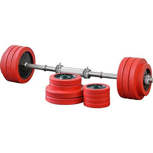 FIELDOOR ブラックダンベル ラバーリング付 30kg×2個セット シャフト連結ジョイント付(シャフト径28mm) 【筋力トレーニング/ダイエット/シェイプアップ】