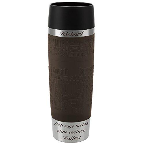 Emsa Thermobecher Travel Mug Grande Braun 500 ml mit persönlicher Rund-Gravur gelasert Edelstahl Soft-Touch-Manschette Quick Express Verschluss