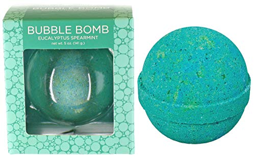 Eucalyptus Spearmint Bubble Bath Bomb by Two Sisters Spa. Large 99% Natural Fizzy for Women, Teens and Kids. Moisturizes Dry Sensitive Skin. Releases Lush Color, Scent, and Bubbles. Handmade in USA