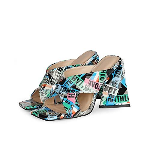 Nuomeisi Sandalias de Mujer,10,5 cm Zapatillas de tacón Alto,Zapatillas Estilo Graffiti Charol Punta Cuadrada Tacón Alto Zapatillas...