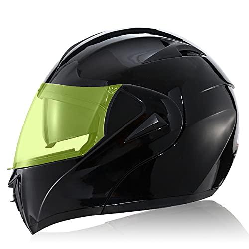 Casco De Moto Abatible con Doble Visera Cascos De Carreras De Motocross Modulares Casco De Moto Integral A Prueba De Viento Forro extraíble y lavable ECE 22(Size:L(59-60CM),Color:Visera iluminadora)
