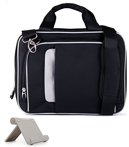 VanGoddy Pinn Black Messenger Bag Suitable for Apple iPad All Generations and Series Up to 10.8inch, Includes Tablet Stand