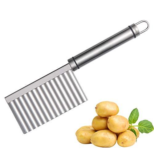 Joyoldelf Edelstahl Garnieren Schneidenwerkzeug Crinkle Chip Cutter Gemüsehobel Wellenschneider Kartoffelschneider für Kartoffel Gemüse Obst Frucht