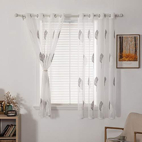 MIULEE Voile Blatt Stickerei Vorhang mit Ösen transparent Gardine 2 Stücke Ösenvorhang Gaze paarig schals Fensterschal Vorhänge für Wohnzimmer Schlafzimmer 175 cm x 140 cm(H x B) 2er-Set