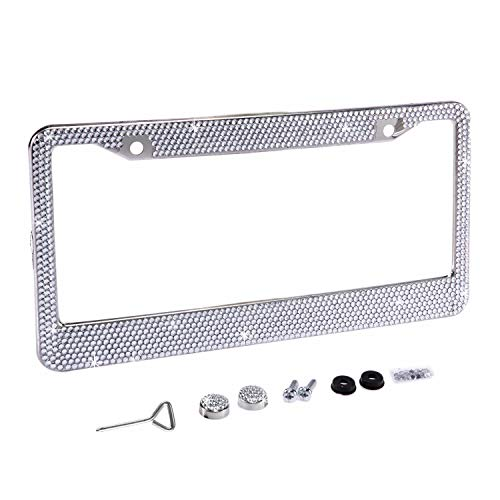 Fashion Sparkle Classic Clear Bling Crystal Car License Plate Frame Cute Waterproof Gift Rhinestone SUV License Plate Holder Stainless Steel Truck Plate Frame for Lady(1 Frame)