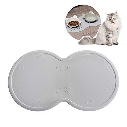 Upgrade Cat Food Mat, Cat Mat for 2 Bowls, Grade Silicone Dog Food Mat Dog Mat for Dog Bowl Cat Mat for 2 Bowls Cat Feeding Mat Dog Mat for Dog Bowl Non Slip Pet Food Mat
