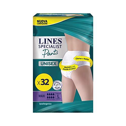 LINES SPECIALIST PANTS MAXI UNISEX per Incontinenza Uomo e Donna, Taglia L, Confezione da 32 Pezzi