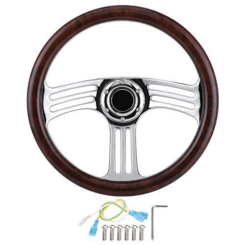 Volante Aramox, 350 mm / 14 pulgadas, empuñadura de madera oscura, 6 pernos, volante cromado de 3 rayos, estilo vintage