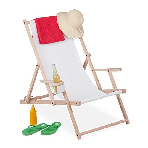 Relaxdays Tumbona Plegable de Madera y Tela, 3 Posiciones, con reposabrazos y...