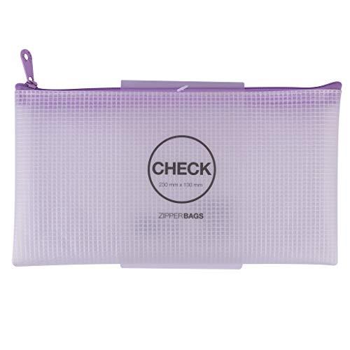 "APLI 18843 - Bolsa Zipper bag Tamaño""Check"" cremallera color VIOLETA Nordik Collection. Medida 230 x 130 mm, material goma EVA suave"