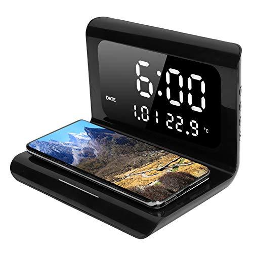 ASHATA Reloj Despertador Digital con Carga inalámbrica, luz de Noche, Reloj Despertador con Pantalla LED, Cargador inalámbrico rápido y automático para teléfono Inteligente(Negro)