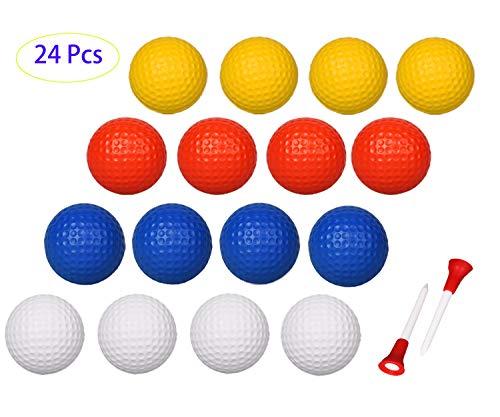 Adwikoso 50 Stück Kunststoff Golf Training Bälle 42 mm Airflow Hohl Golfbälle für Indoor-Putting Grün Garten Outdoor Übungsgerät mit 2 Golfball-Tees, Foam-24