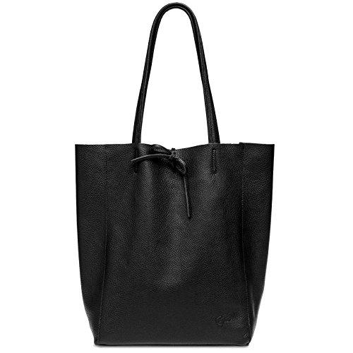 Caspar TL780 großer Damen Echt Leder Business Shopper, Farbe:schwarz, Größe:One Size