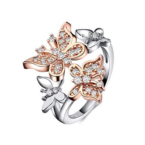 Carry stone Schmetterling Fingerring Legierung Pflastern Einstellung Diamant Stein Enagagement Hochzeit Band Ringe für Frauen Schmuck Hohe Qualität