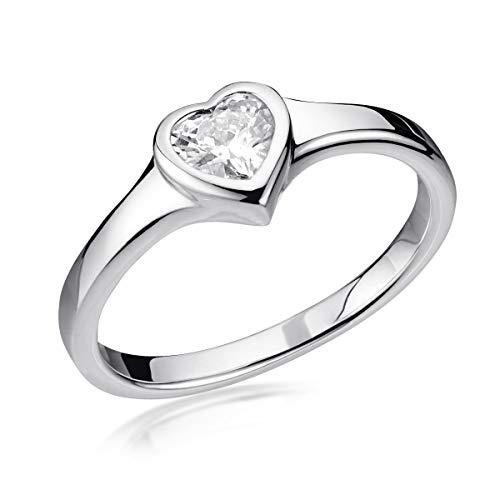 MATERIA 925 Silber-Ring Herz - Damen Ringe Liebe Verlobungsring mit Zirkonia inkl. Schatulle 19.1mm SR-163-60