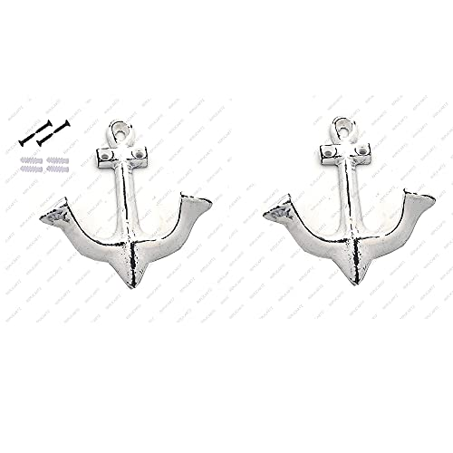 Set of 2 Nautical White Shabby Chic Anchor Decorative Cast Iron Decorative Wall Hooks - Rustic - Antique with Screws and Anchors for Mount