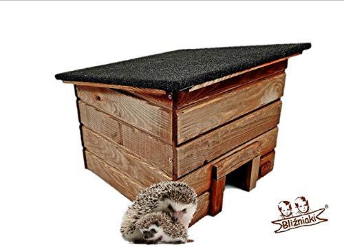 BLIZNIAKI Hölzernes Igelhaus Wetterfest Abnehmbares Dach Labyrinth Igelhütte ECO Igelhotel für den Garten Holzhäuschen (HDJ1 O)
