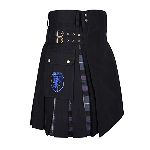 "DSS KILTS- Modern Hybrid Cotton & Tartan Kilts (40"" at Belly Button, Black Cotton & Pride of Scotland Tartan)"