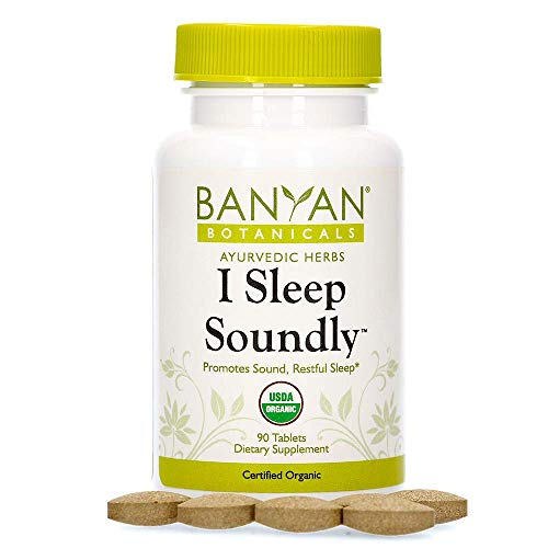 Banyan Botanicals I Sleep Soundly – Organic Herbal Sleep Supplement with Ashwagandha & Chamomile – Non Habit Forming Sleep Aid for Sound Sleep* – 90 Tablets – Non-GMO Sustainably Sourced Vegan