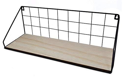 Spetebo Gitter Wandregal 45 cm mit Holz Ablage - Metall Hängeregal Bad Regal Küchenregal