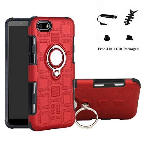LFDZ Huawei Y5 2018 Custodia, Resistente TPU Case Design 360 Grado Rotazione Protective Custodia Cover per Huawei Y5 2018 / Y5 Prime 2018 / Honor 7s Smarphone(con 4in1 Regalo impacchettato),Rosso