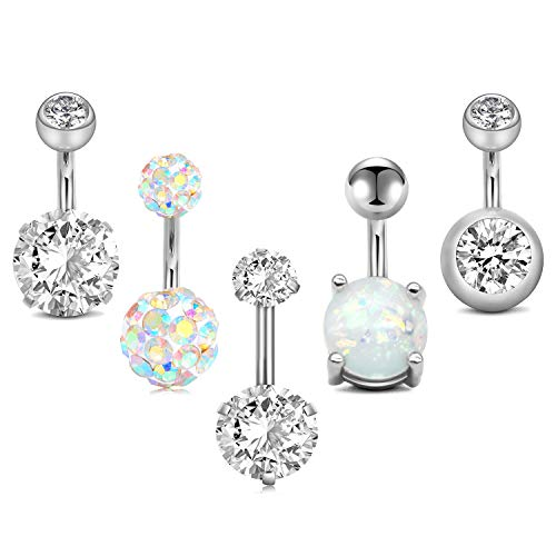 MODRSA 5pcs Jeweled Belly Button Rings 14G Surgical Steel Round Cubic Zirconia Navel Barbell Body Piercing Short Belly Bar 1/4' 6mm