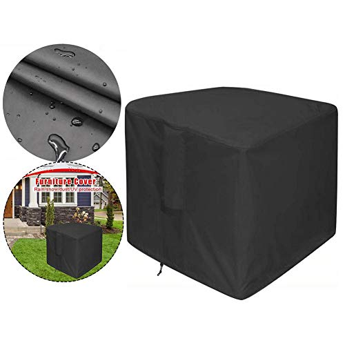 wonderday Patio Fire Pit Cover Square Garden Furniture Covers Waterproof Anti-UV Cube Set Cover 420D Oxford Cloth Rattan Table Chairs Covers Protective, with Air Vent, Silver-plaqué Primer, PU Layer