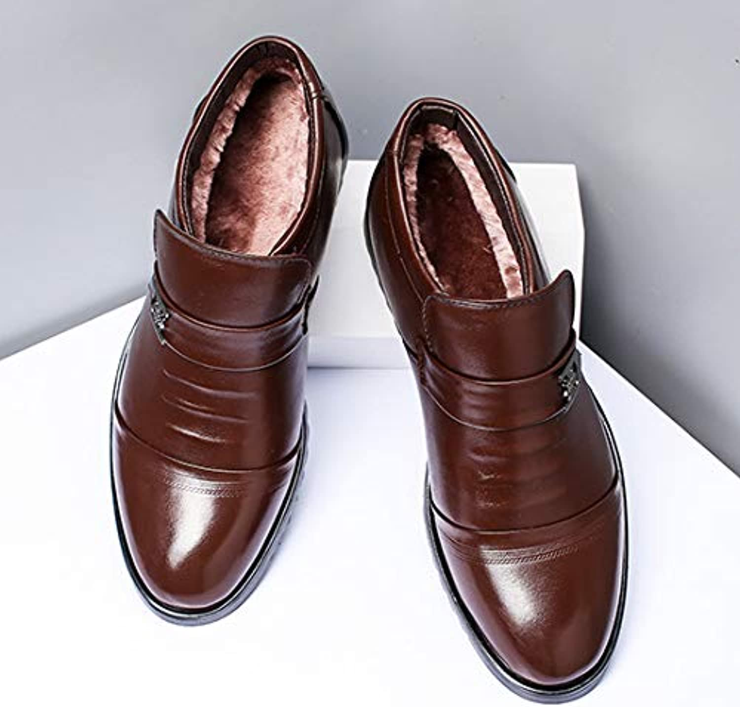 Men's Cotton shoes, Sheep Fur, one Wool, one Foot, Casual Leather, Thick Warm, Plus Velvet, Winter,Brown,43