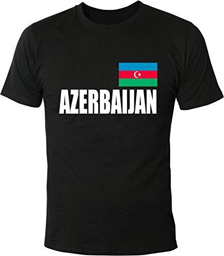 Mister Merchandise Witziges Herren Männer T-Shirt Fahne Flag Azerbaijan, Größe: M, Farbe: Schwarz