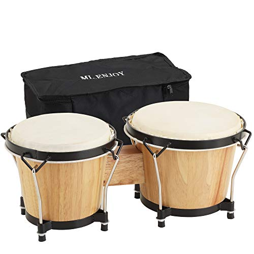 ML.ENJOY Bongo Drums, 2 Set 7″ and 8″ Drum Set, Tunable Percussion Instruments Synthetic Metal Frame Construction Bongo Drum for Kids Adults Beginners with Travel Bag and Tuning Wrench, Natural Finish