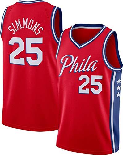 WSUN NBA Hombre Jersey 25# Simmons Camiseta De Baloncesto NBA 76Ers 25# Camiseta Camiseta Clásica Cómodo/Ligero/Transpirable Malla Bordada Unisex Sudadera,B,XL(180~185CM/85~95KG)