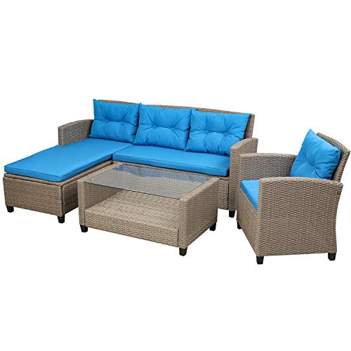 Extaum Rattan Furniture Set,Patio Furniture Sets, 4 Piece Conversation Set Wicker Rattan Sectional Sofa with Seat Cushions Living Room,Outdoor
