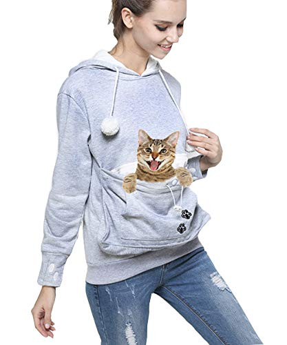 Pet Dog Cat Pouch Hoodie, Small Pet Carrier Dog Cat Pouch Hoodie Sweatshirt Kangaroo Pocket Holder,with Ear (Gray.XXL)