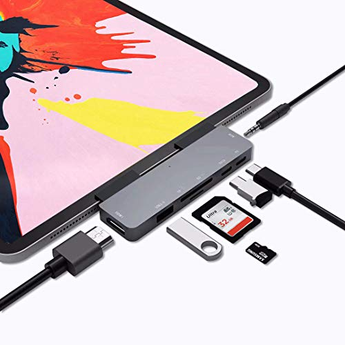 USB C HUB Adapter for iPad Pro 11/12.9 2018 2019,7 in 1 USB C Dongle with 3.5mm&Type-C Earphone Headphone Jack with Volume Control,4K HDMI,USB C PD Charging&Data,USB3.0,Micro SD Card Reader
