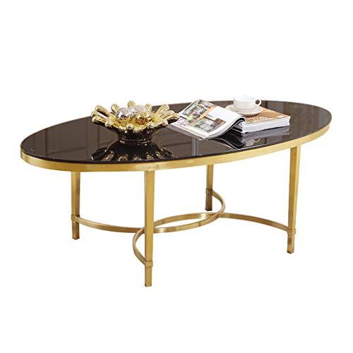 Y-Leah Mesa de Centro de Cristal templada Ovalada Elegante y Simple del Acero Inoxidable, Marco Titanium del Oro, Conveniente para el balcón de la Sala de Estar