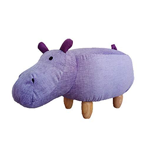 Dierenkruk, kinderkruk houten kruk met bont voor leuke decoratiekruk met diermotief (paard), lila, groot